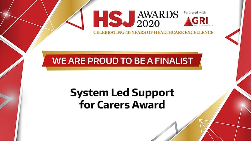 Health Service Journal Awards image, reading 'we are proud to be finalists'