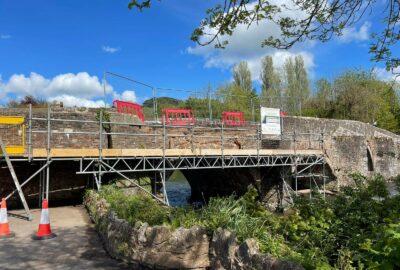 Scaffold erected at Bickleigh Bridge