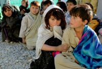 Children from Afghanistan sat on the ground