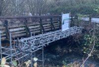 Photo of scaffolding on the existing Foxhole footbridge