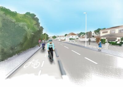 artist impression of a cycle route alongside a road