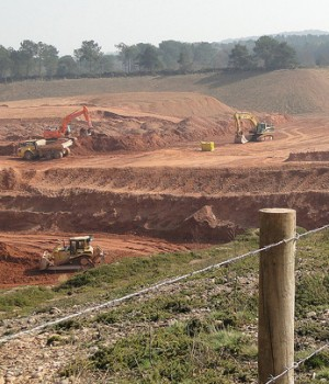 Blackhill Quarry pictured with diggers