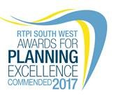 Image of logo (blue and yellow wavy lines) for RTPI South West Awards for Planning Excellence commended 2017
