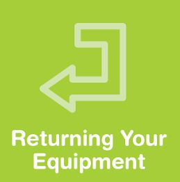 An arrow and the words returning your equipment
