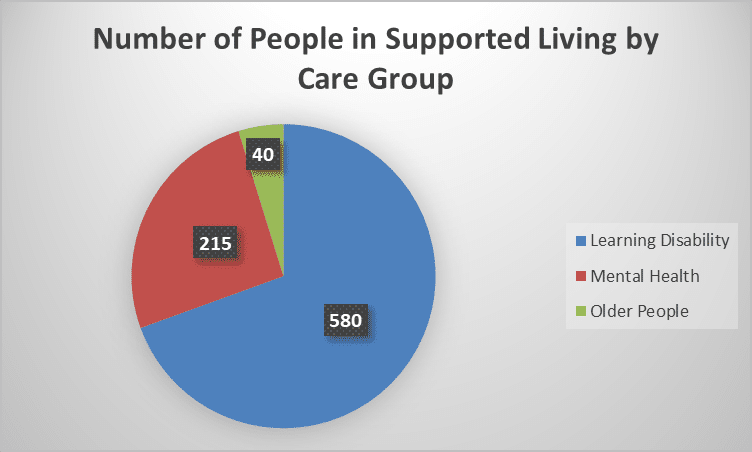 Pie chart showing the number of people in supported living by care group, in Devon: 580 people who have a learning disability; 215 people with a mental health condition; 40 older people.