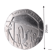 A 20p piece with extra information showing that it is about 20mm high