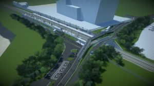 A visualisation of the new station looking toward the Exeter Energy Recovery Facility
