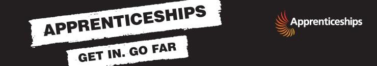 Apprenticeships banner - Get in. Go far.