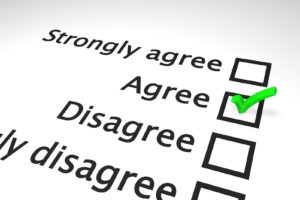 Picture of survey options: strongly agree, agree, disagree, with green tick in agree box.