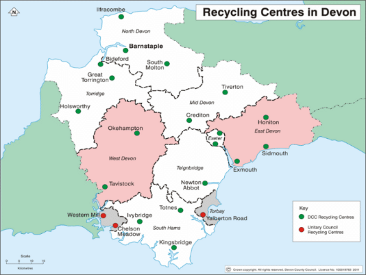 Map of Household Waste Recycling Centres in Devon and Torbay