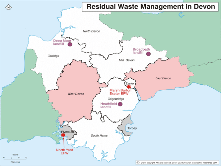 Map showing the location of residual waste facilities in Devon