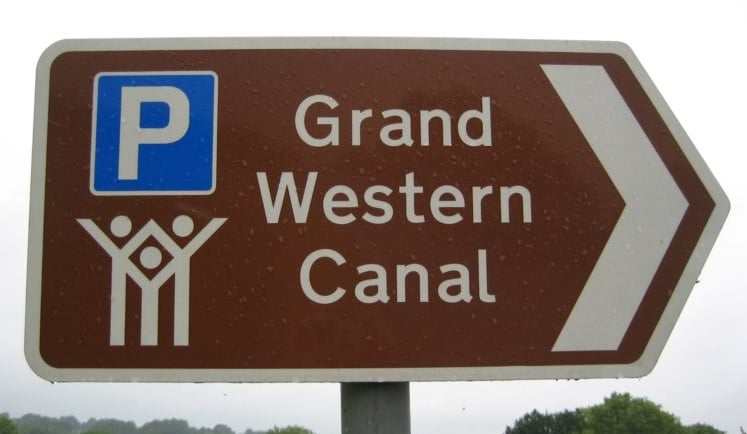 Grand Western Canal Brown Tourist Sign