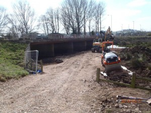Access track under Countess Wear Flood Relief Bridge