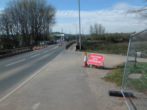 Riverside site entrance - heading South (away from Exeter)