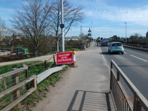 Riverside site entrance - heading North (towards Exeter)