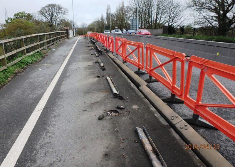 Crash barrier being dismantled