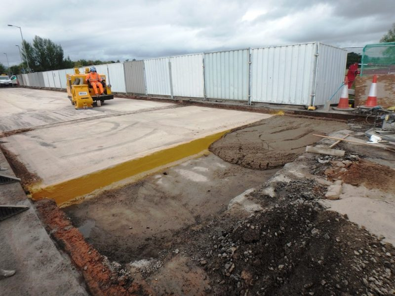 Preparing concrete deck and placing foamed concrete