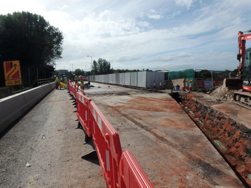 Services trench to North of Countess Wear Flood Relief Bridge