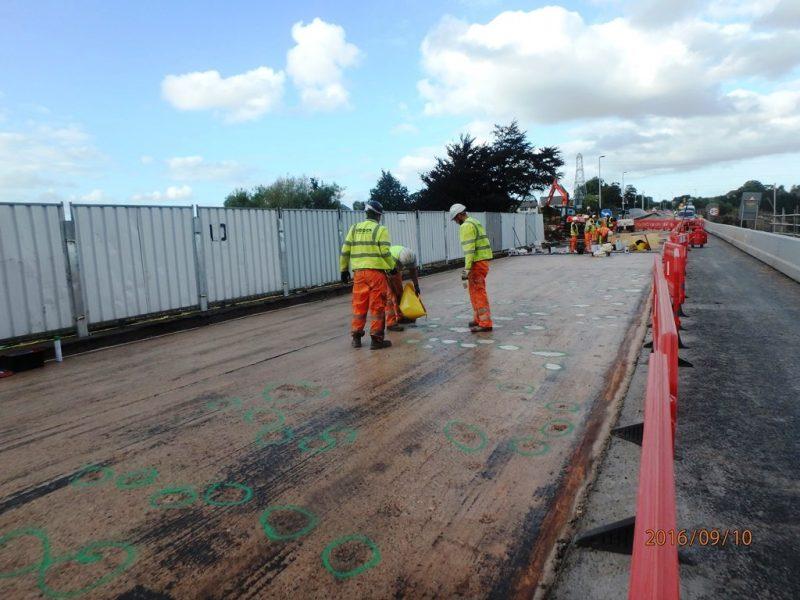 Repairing the concrete deck of Countess Wear Flood Relief Bridge