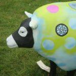 outside ornament of a multicoloured sheep