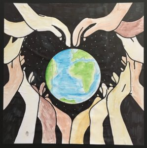 drawing of world with hands around it in a heart shape