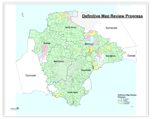 Map showing progress of the Definitive Map Review in Devon