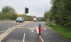Bidirectional (two way) cycle route along Cumberland Way which merges to a shared path at Hollow Lane.