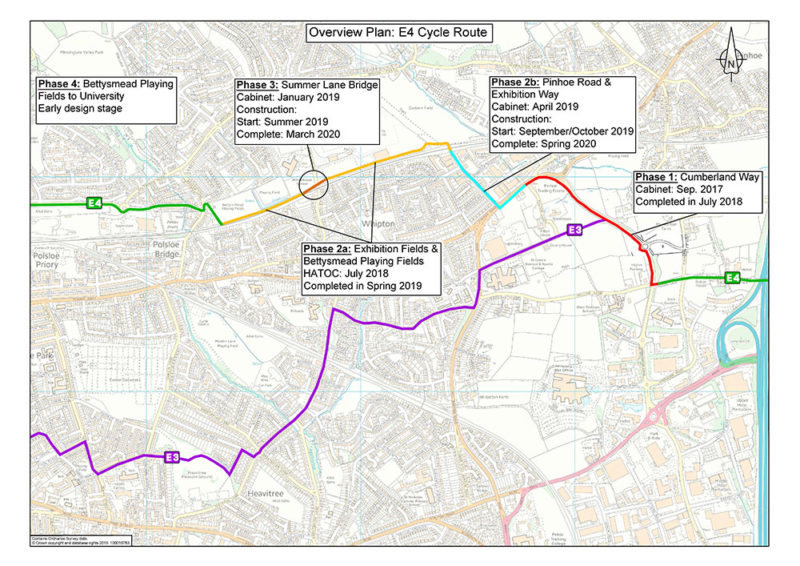 Overview plan showing the phases of the improvements to the E4 cycle route in Exeter.