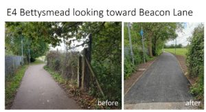 E4 Bettsymead looking toward Beacon Lane - before and after photos