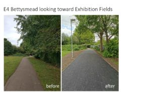 E4 Bettysmead looking toward Exhibition Fields - before and after photos