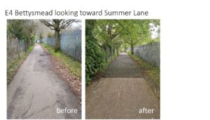 E4 Bettsymead looking toward Summer Lane - before and after photos