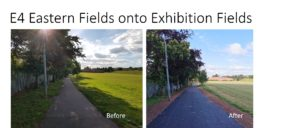 E4 Eastern Fields onto Exhibition Fields - before and after photos