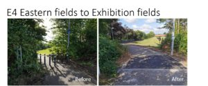 E4 Eastern fields to Exhibition fields - before and after photos