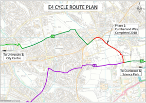 A map illustrating the route developed in phase 1 of the E4 cycle scheme