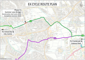 A map illustrating the route that will be developed in phase 3 of the E4 cycle scheme