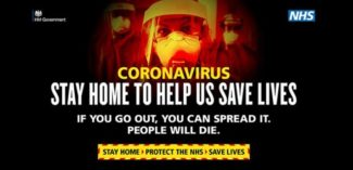 Stay home to help us save lives posters NHS
