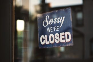 Shop - sorry we're closed - sign