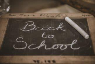 Back to school written in chalk
