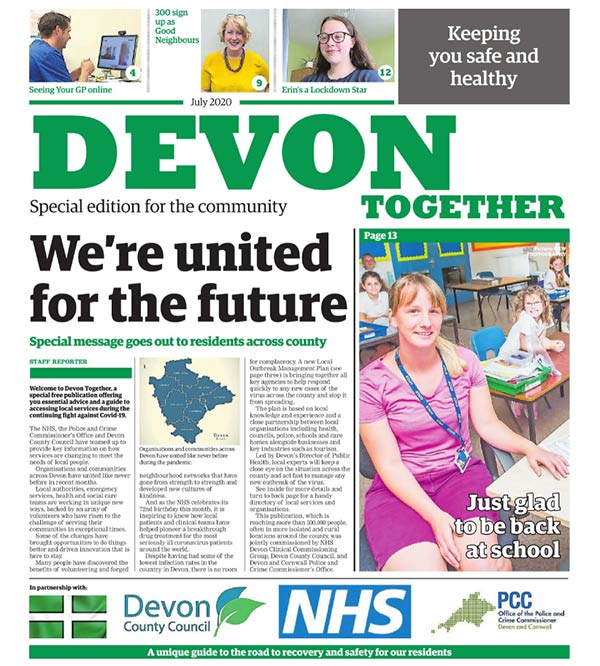 Front page of the Devon Together newspaper