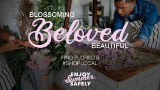 Poster for 'Shop Local' depicting a florist