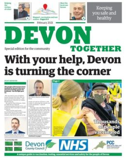 The front page of the February 2021 Devon Together newspaper