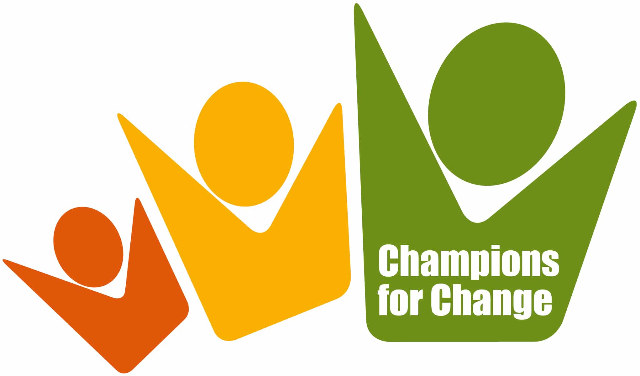 champions for change logo three people with their hands up