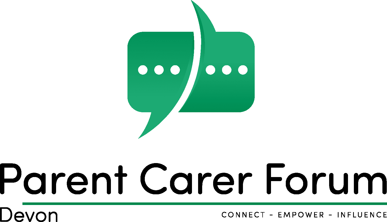 Logo of Parent Carer Forum Devon with the caption: Connect, Empower, Influence