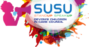 The image shows the Stand Up Speak Up logo.   SUSU – Stand Up Speak Up, Devon's Children in Care Council'  The logo has the outline of a person speaking through a loudspeaker