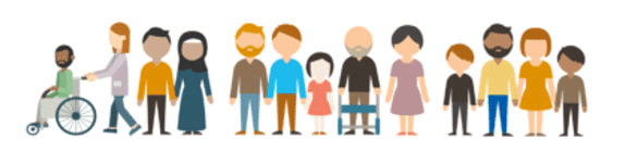 The image shows a cartoon of lots of different people. The people are different genders, some have physical disabilities, they are from different ethnicities and are different ages.