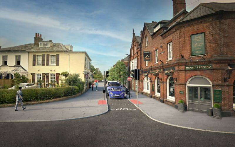A computer-generated visualisation of the Magdalen Road consultation option 2b