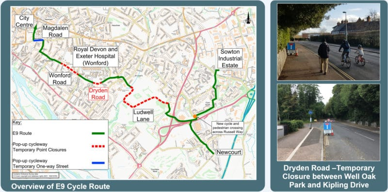 map and photographs of the E9 cycle route in Exeter