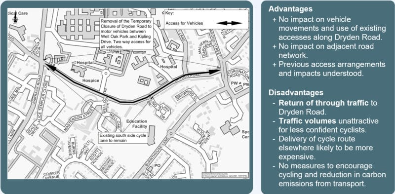 map showing two-way access permitted along Dryden Road between Barrack Road and Wonford Street.