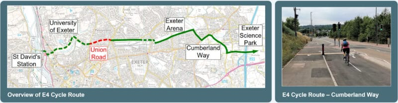 Map of the EX4 cycle route and a cyclist using a stretch of it