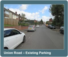 cars parked along either side of Union Road